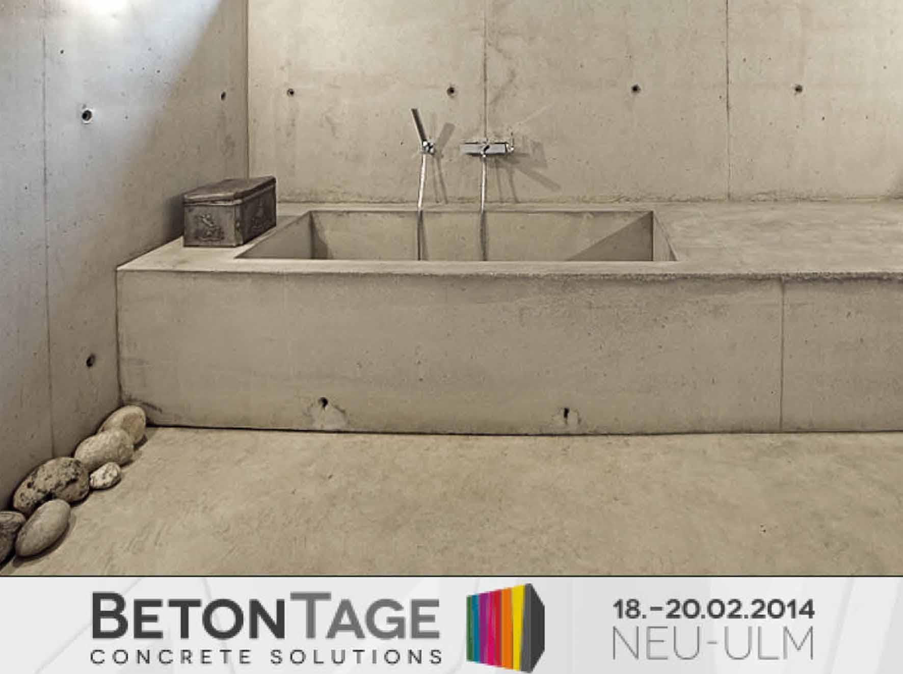 Das Plakat der Betontage mit einer Badewanne aus beton von Sennrich und Schneider