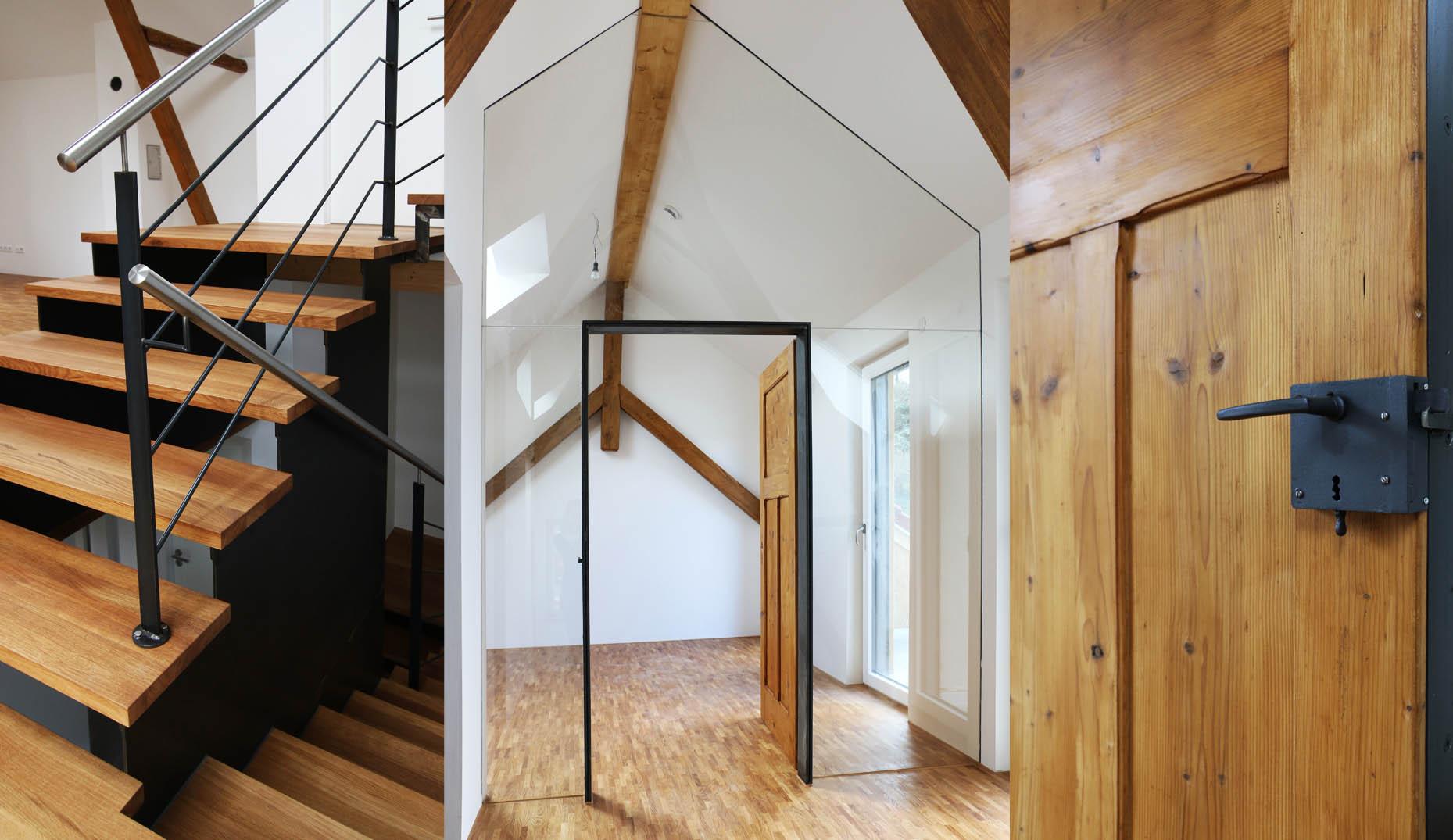 Ein sanierter Altbau mit rustikalen Türen
