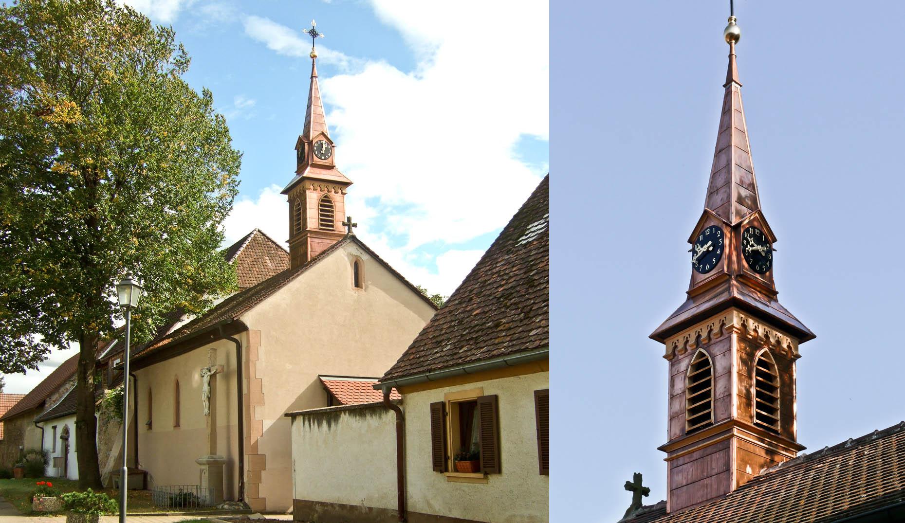 Der sanierte Kirchturm in Grezhausen