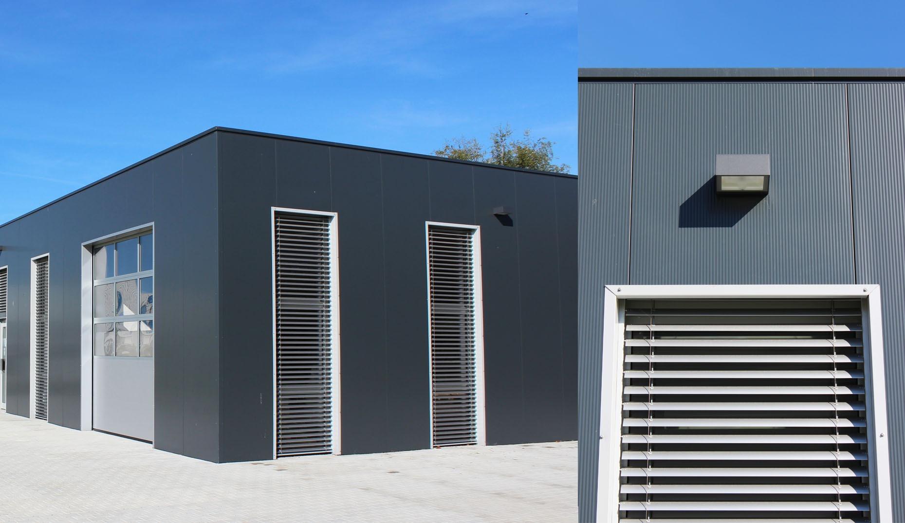 Eine von Sennrich und Schneider erbaute Garagenhalle