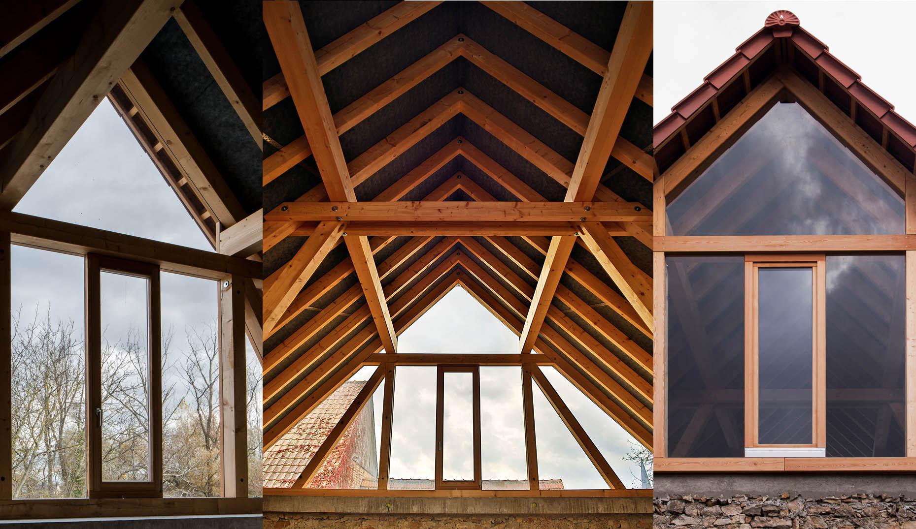 Die Dachstruktur eines sanierten Daches