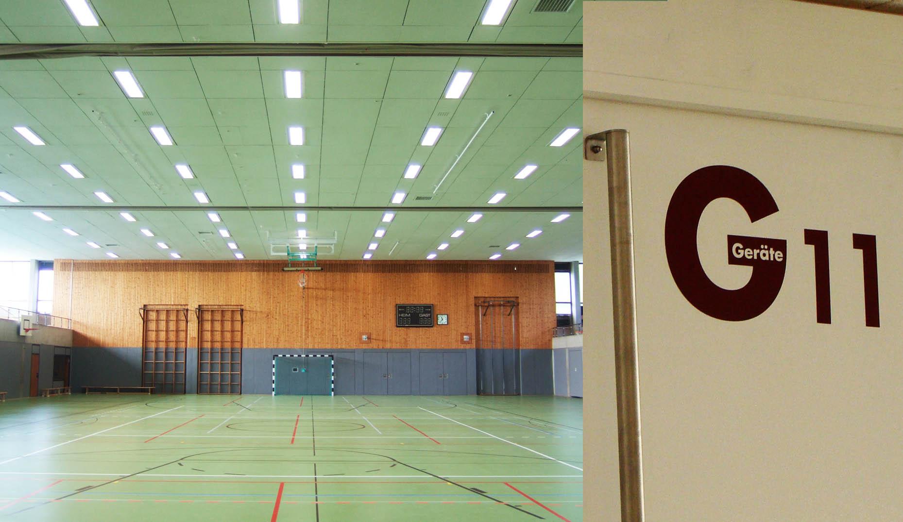 Die Halle der Breisachen Sporthalle nach der Sanierung durch Sennrich und Schneider Architekten