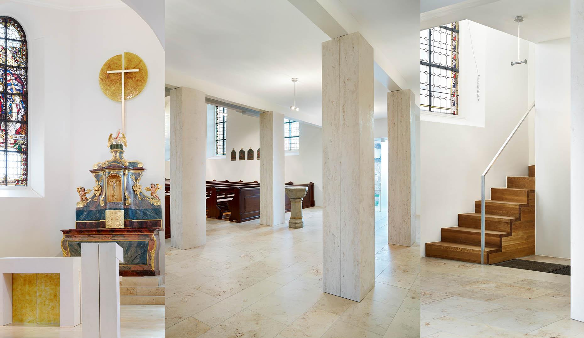 Der modernisierte Innenraum einer Kirche im Schwarzwald