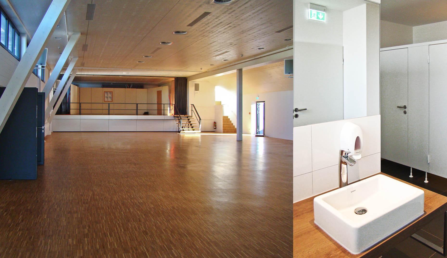 Der neue und moderne Innenraum der Tuniberghalle Oberrimsingen