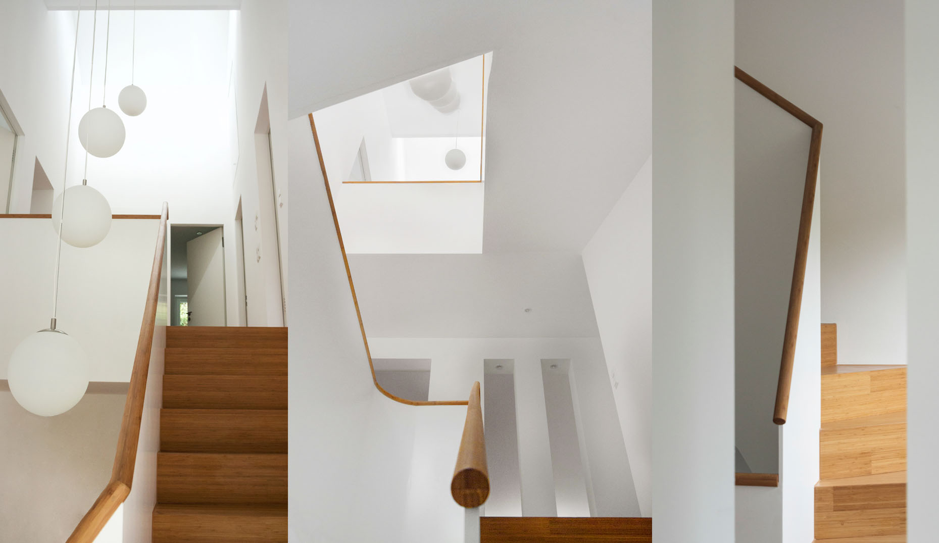 Eine neue Treppe aus Echtholz mit geschwungenen Linien in einem Altbau
