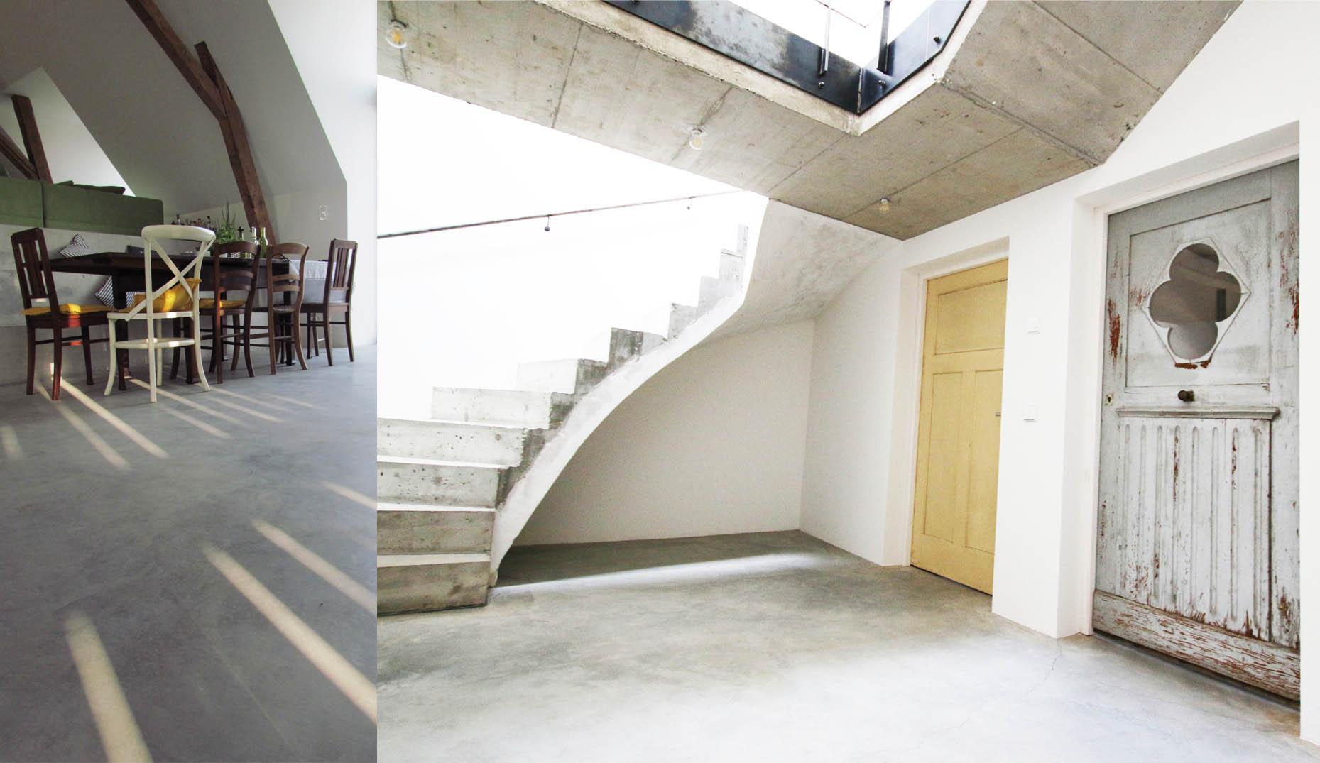 Ein Hauseingang mit verschiedenen Elementen aus Beton